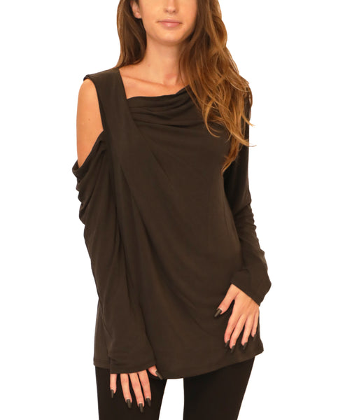 Cold Shoulder Draped Blouse