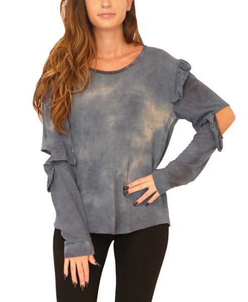 Tie Dye Top w/ Ruffle Cutouts - Fox's