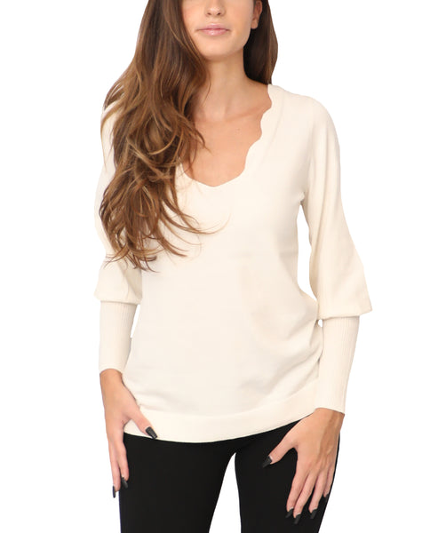 Sweater w/ Scalloped V-Neck - Fox's