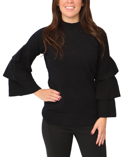 Sweater w/ Tiered Ruffle Sleeves