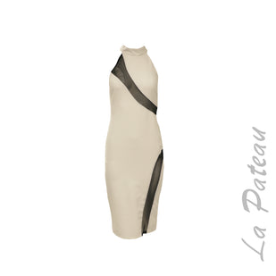 Mock Neck Sheath Dress