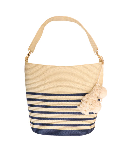 Stripe Straw Bucket Bag