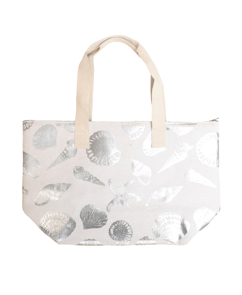 Tote Bag w/ Printed Silver Shells