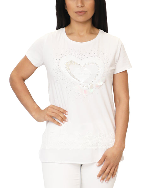 "Zoom view for ""Heart"" Embellished Tee"