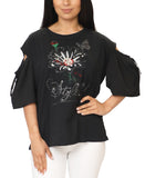 Cold Shoulder Pearl & Rhinestone Embellished Tee - Fox's