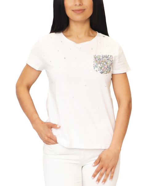 Zoom view for Hi-Lo Sequin & Crystal Embellished Tee