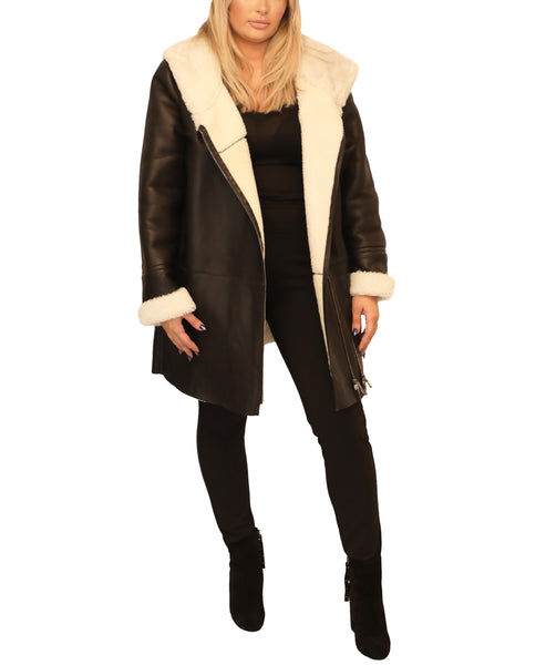 Extended Size Leather Hooded Coat - Fox's
