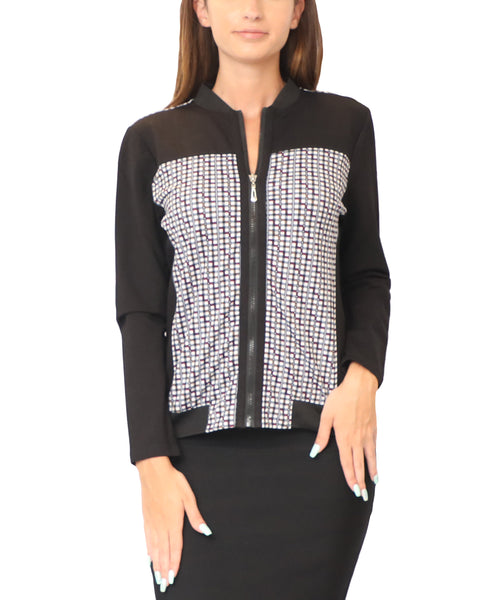 Zip Front Print Top - Fox's