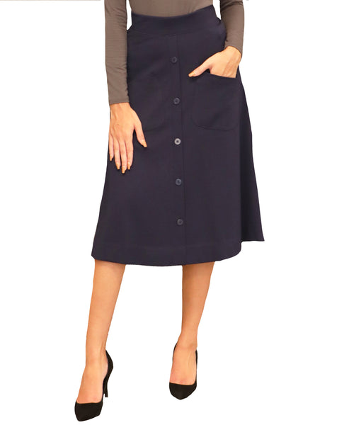 A-Line Button Front Skirt
