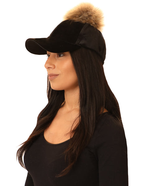 Velvet Baseball Cap w/ Fox Fur Pom - Fox's