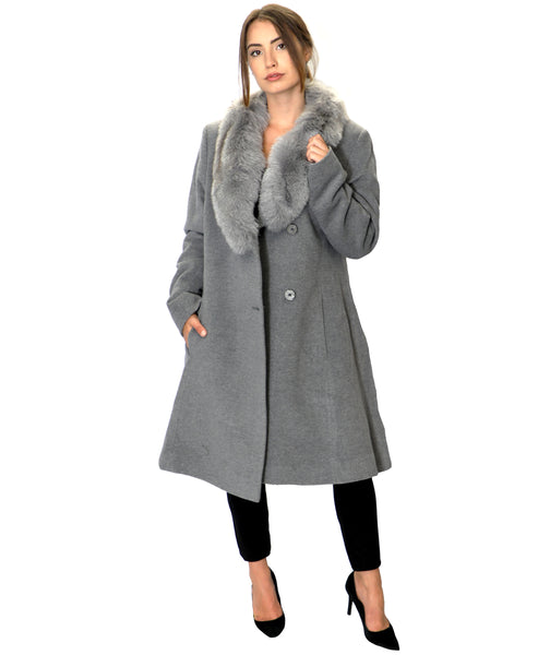 Zoom view for Wool & Cashmere Blend Coat w/ Fox Fur