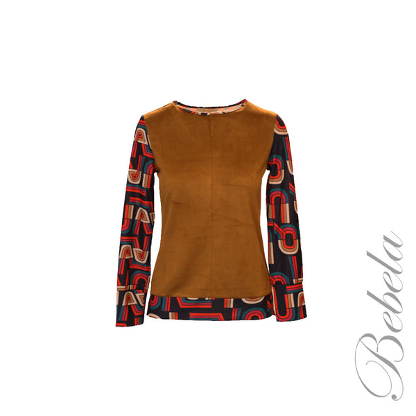 Print Long Sleeve Top w/ Faux Suede