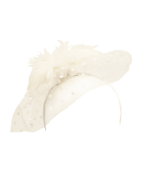 Polka Dot Soft Veil Fascinator Headband