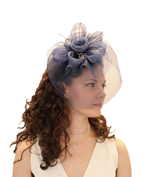 Wide Brim Floral Bow Fascinator Headband