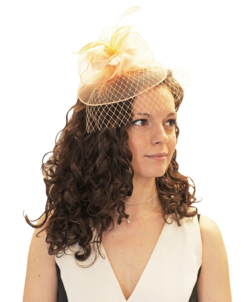 Feather Flower Veil Fascinator Headband