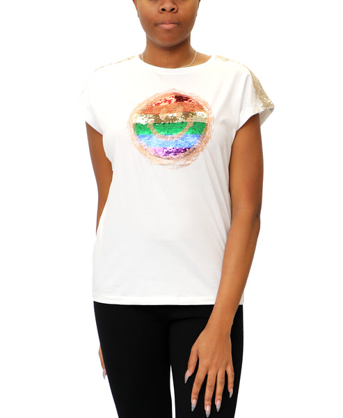 "Zoom view for ""Smile"" Tee w/ Sequins A"