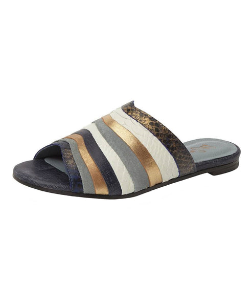 Leather Colorblock Flat Slide