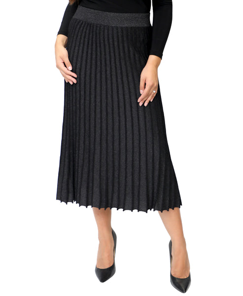Zoom view for Pleated Knit Lurex Skirt