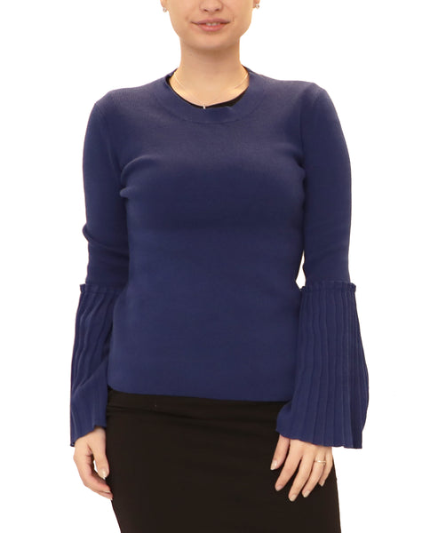 Lightweight Sweater w/ Pleated Bell Sleeves