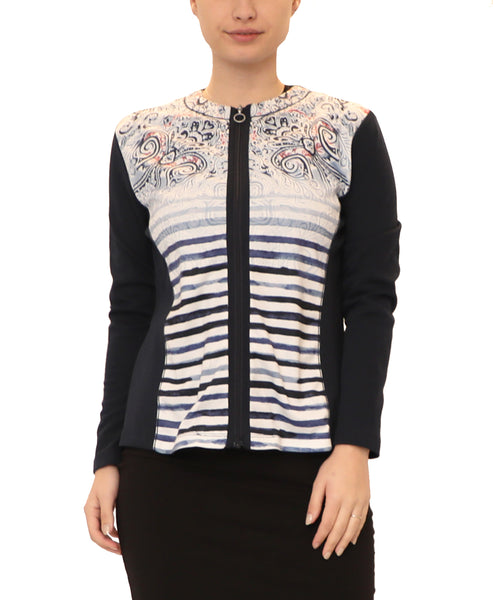 Printed Zip Front Knit Top