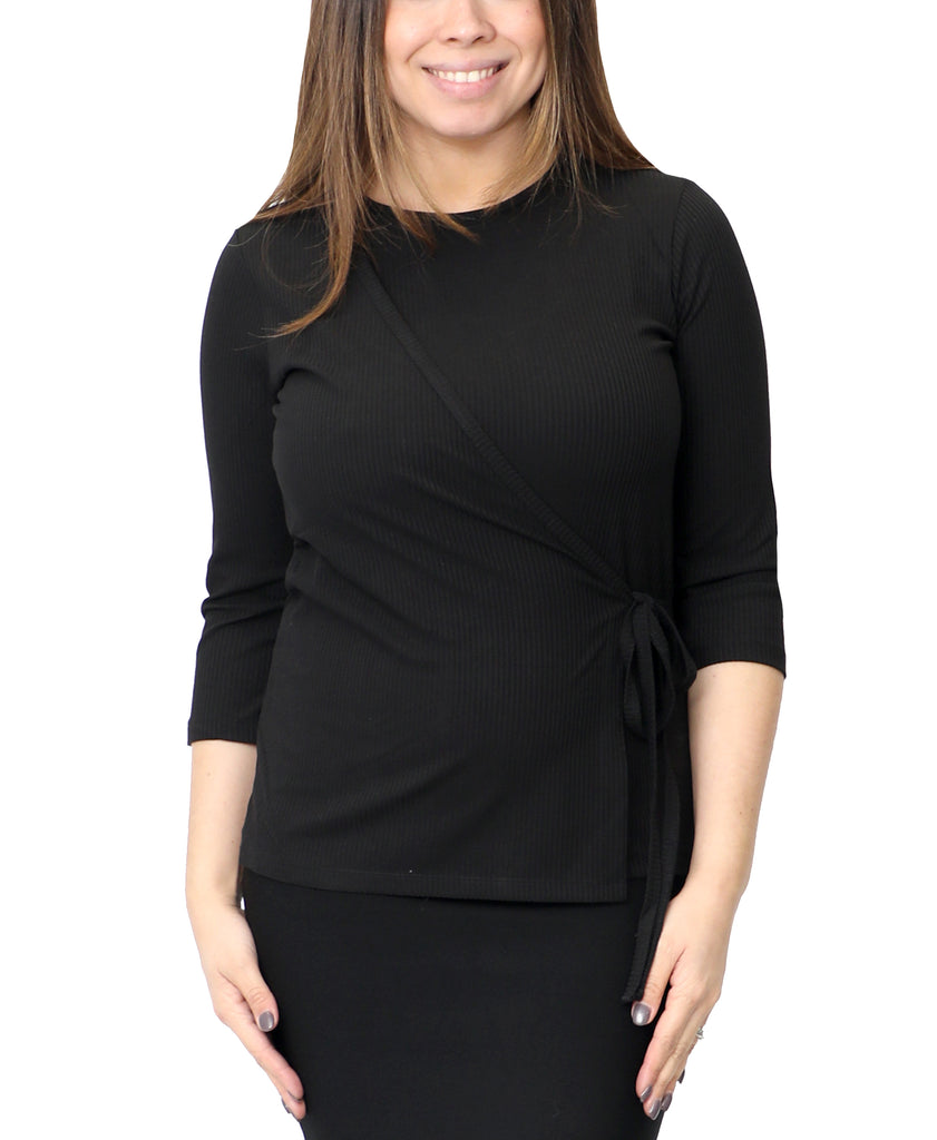 Faux Wrap Ribbed Top