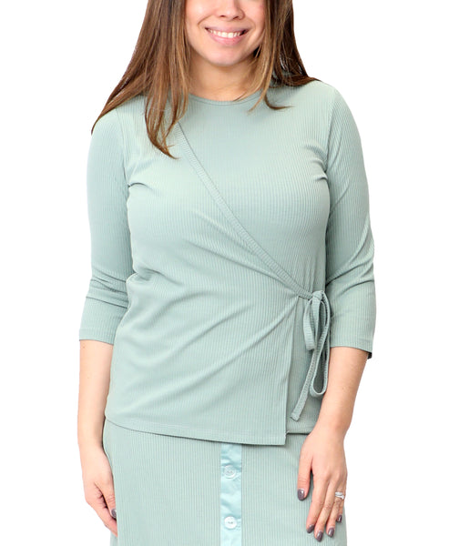 Zoom view for Faux Wrap Ribbed Top A
