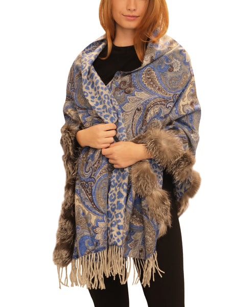 Printed Reversible Wool Wrap w/ Fox Fur Trim