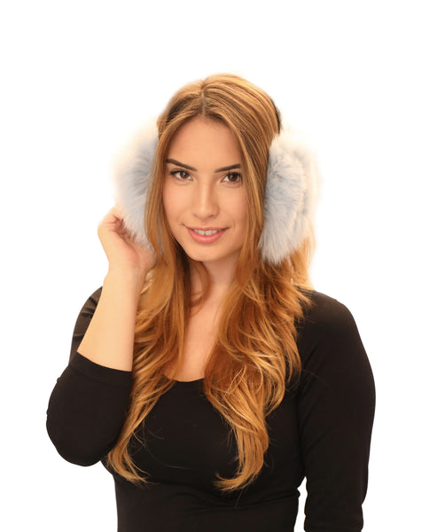Fox Fur Earmuffs w/ Plaid Headband