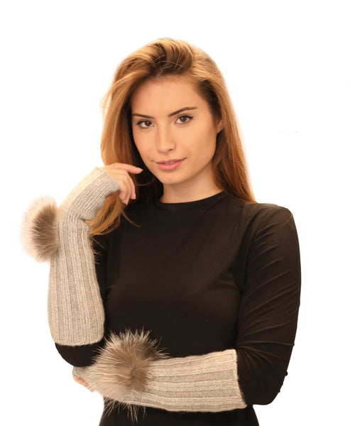 Fingerless Wool Knit Gloves w/ Genuine Fur Trim