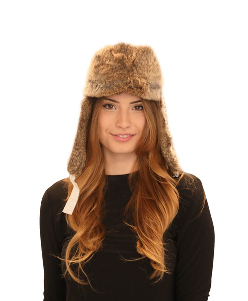 Leather Trapper Hat w/ Rabbit Fur & Stud Details