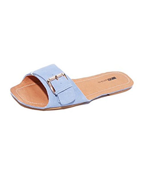 Suede Buckle Slide