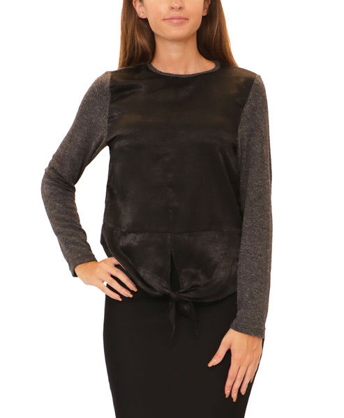 Lightweight Knit Top w/ Tie Front