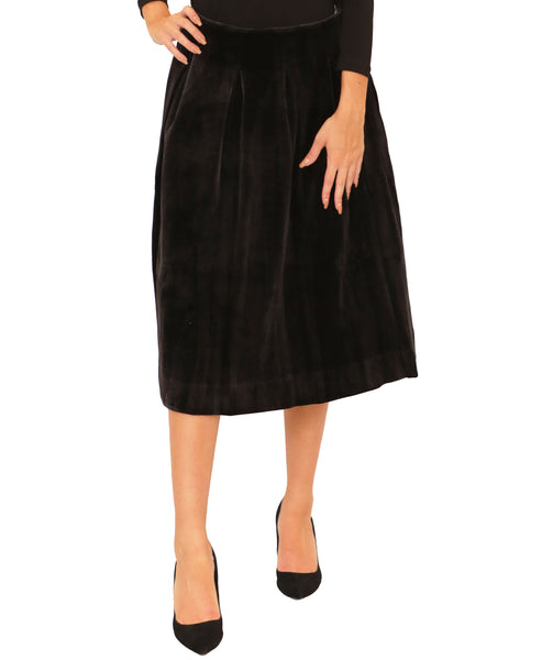 Velvet Box Pleat Skirt