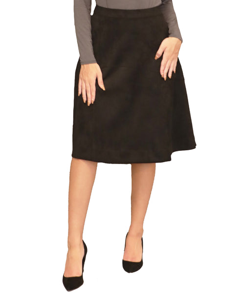 Faux Suede A-Line Skirt - Fox's