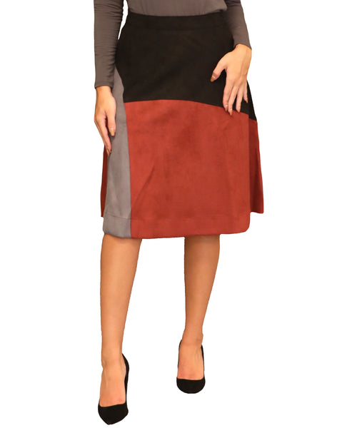Faux Suede Colorblock A-Line Skirt