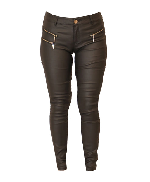 Coated Jegging w/ Zipper Detail