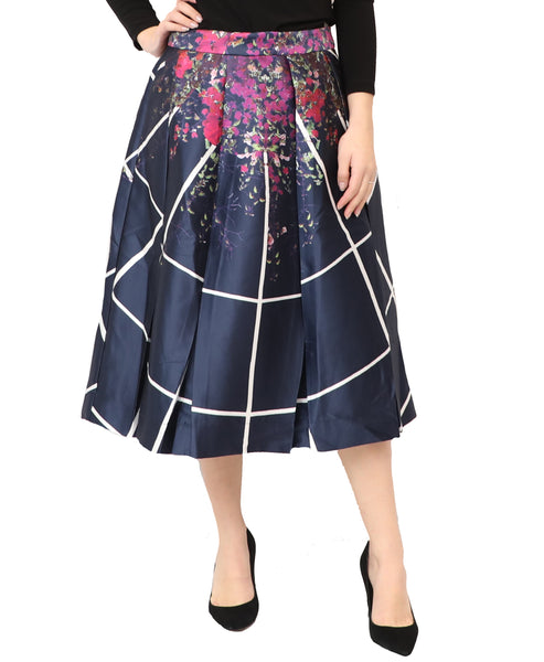 Floral Box Pleat Full Skirt