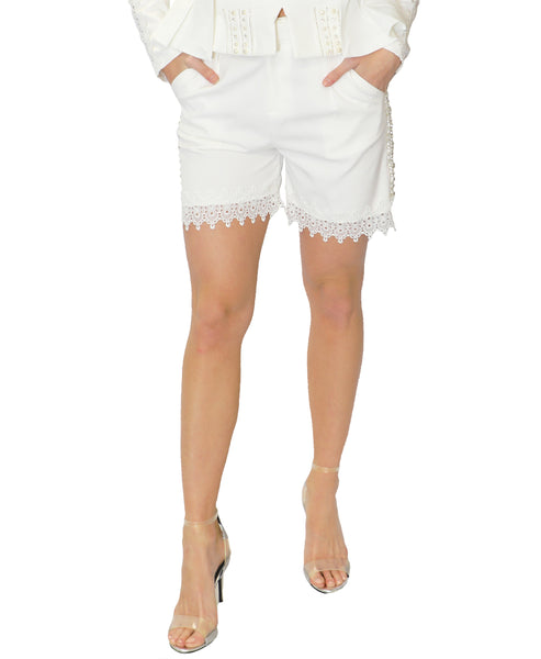 Crochet Lace & Rhinestone Shorts