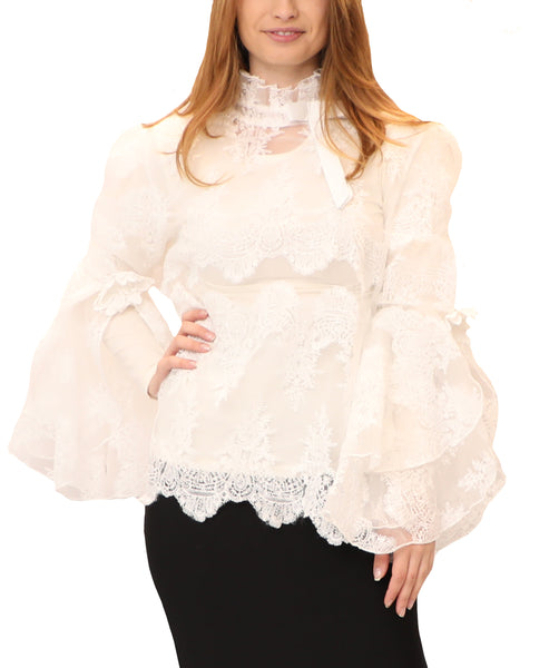 Sheer Embroidered Blouse w/ Tiered Bell Sleeve