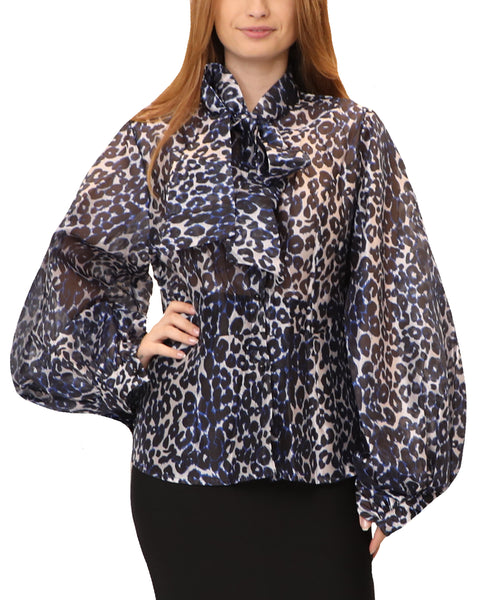 Animal Print Blouse w/ Puff Sleeves