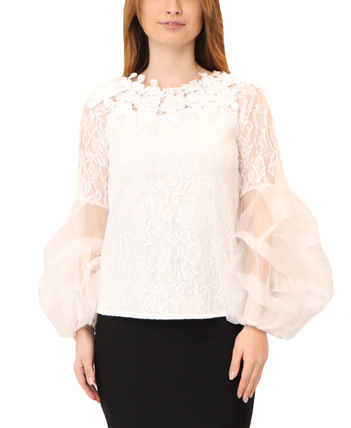Off The Shoulder Lace Blouse w/ Puff Sleeves