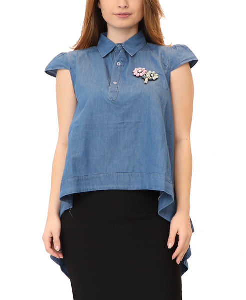 Denim Hi-Lo Top w/ Jeweled Flower Detail
