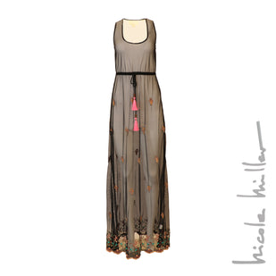Embroidered & Beaded Sheer Cover-Up Maxi