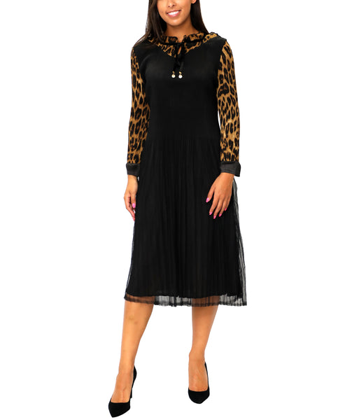 Zoom view for Crinkle Pleated Dress w/ Leopard