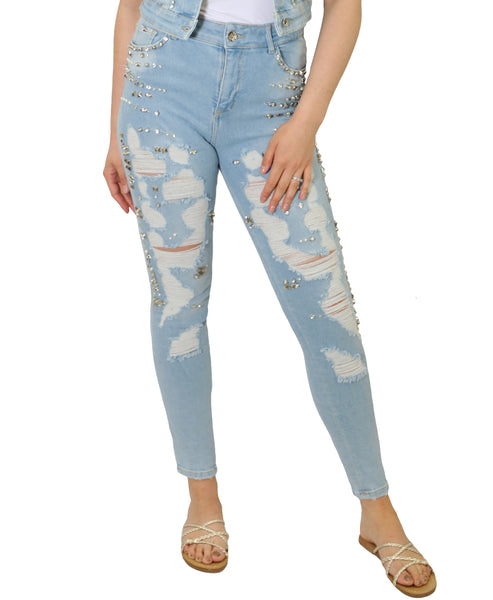 Zoom view for Embellished Distressed Jeans