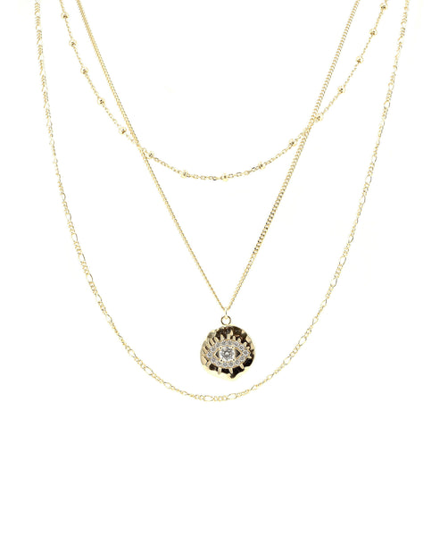 Zoom view for Evil Eye Layered Necklace w/ Cubic Zirconia