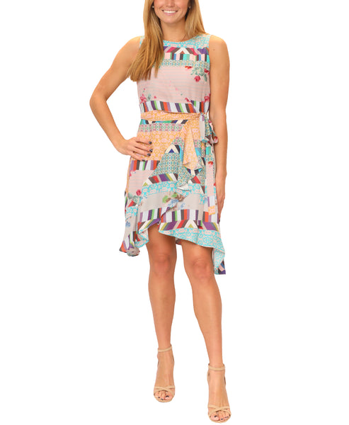 Zoom view for Silk Mixed Media Faux Wrap Dress