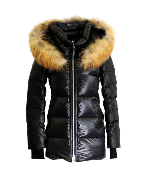 Zoom view for Down Coat w/ Fox Fur & Leather Trim