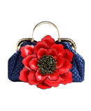 Weaved Satchel w/ Over Sized Flower