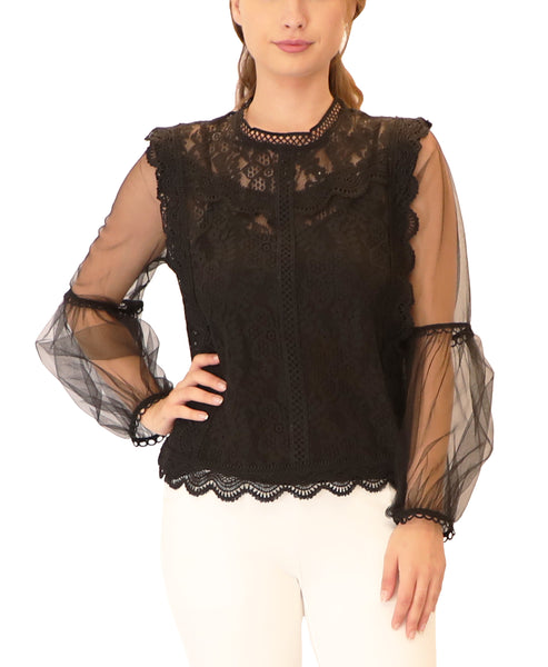 Lace Blouse w/ Puff Sleeves